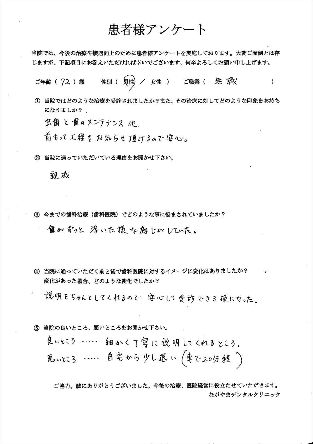 ながやまデンタルクリニックの患者様の口コミ・評判アンケート3