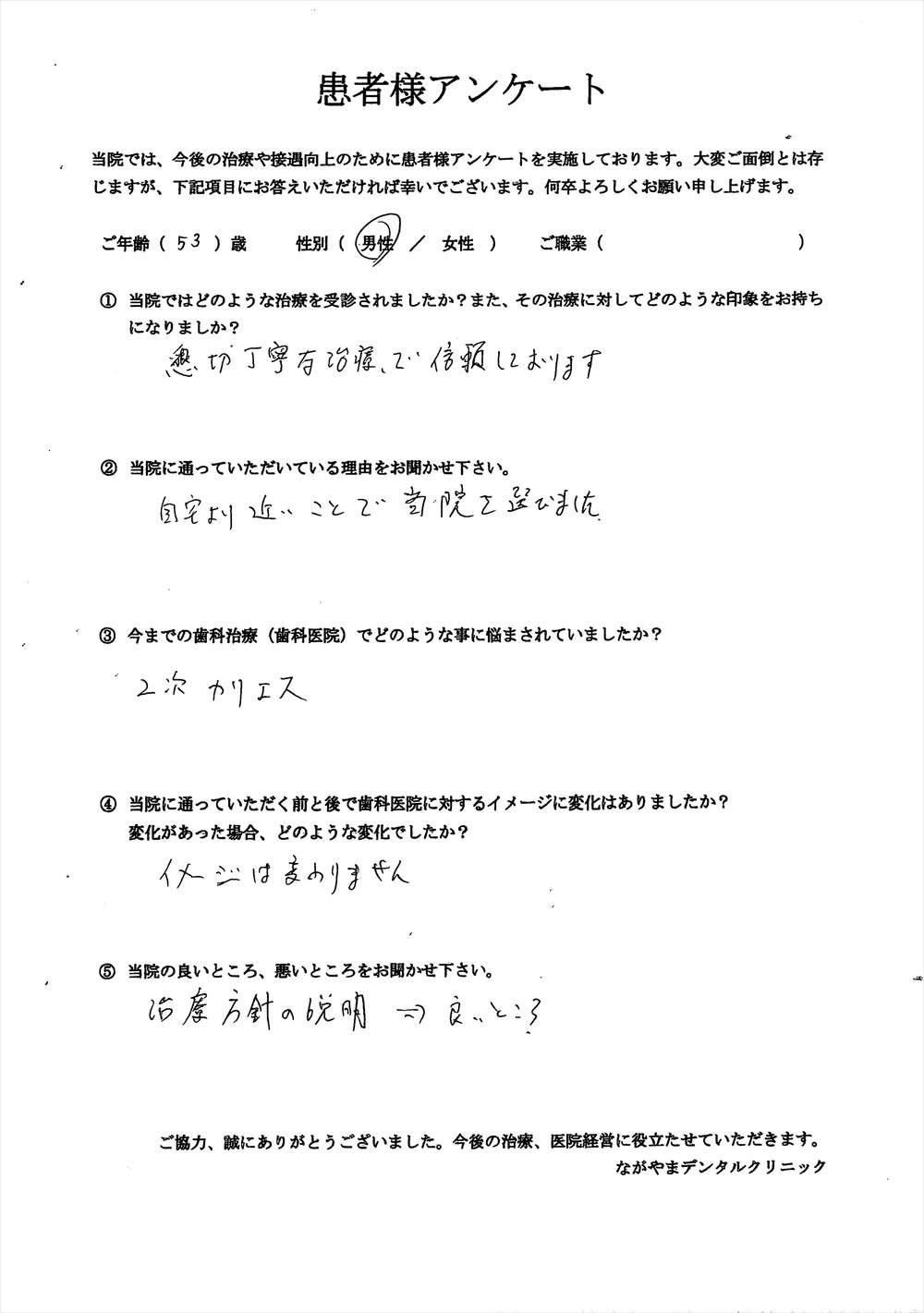 ながやまデンタルクリニックの患者様の口コミ・評判アンケート4