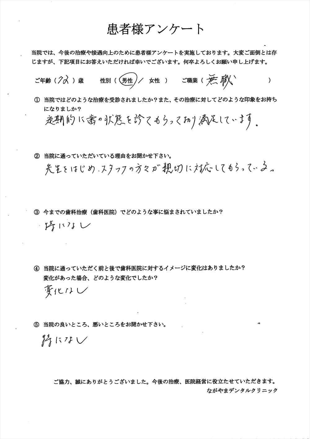 ながやまデンタルクリニックの患者様の口コミ・評判アンケート6